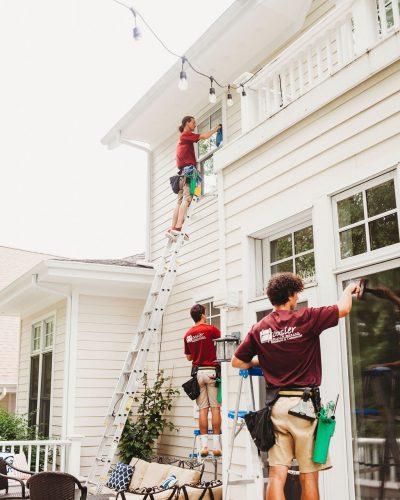 Hoosier team at window washing job